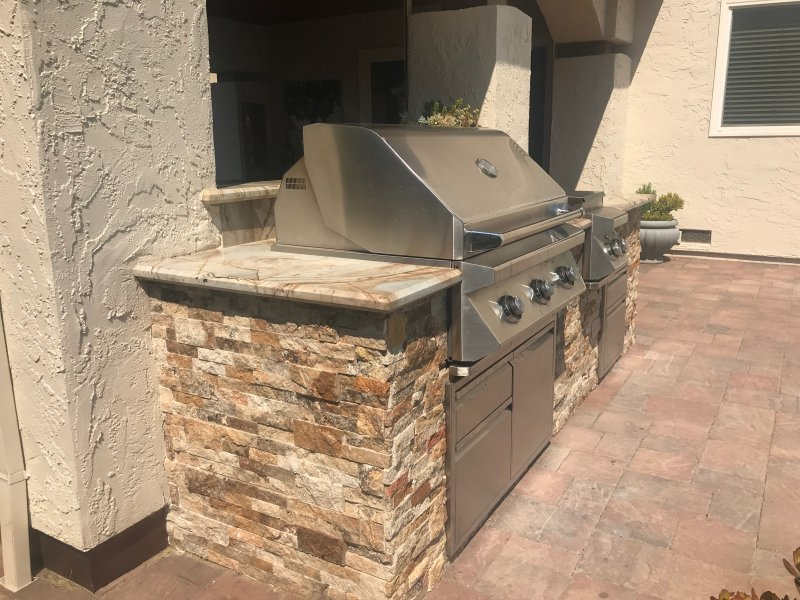 Masonry Outdoor BBQ Grill Side View Gilroy